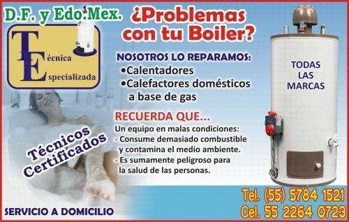 Reparación y mtto. calentadores de gas (boiler), estufas, hornos, calefactores.