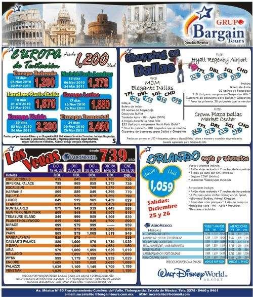 Bargain tours operador mayorista en viajes