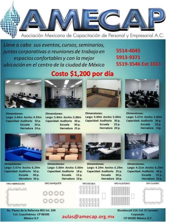 Renta de aulas para juntas corporativas, reuniones capacitaciones, eventos, seminarios