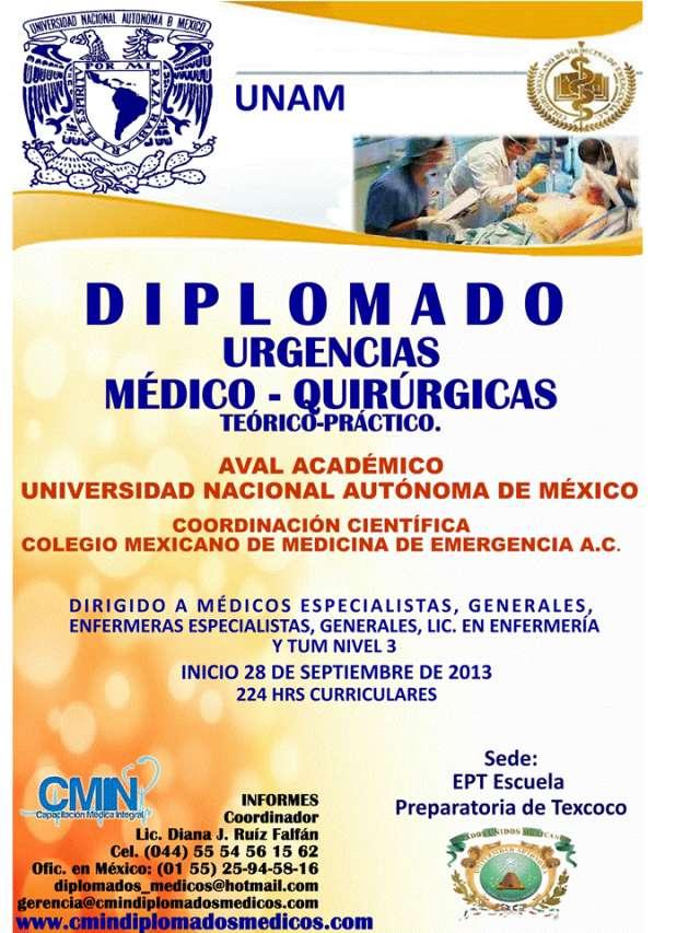Diplomado de urgencias médico quirúrgicas en texcoco edo. de méxico