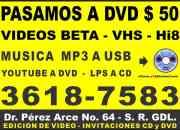 Pasamos tus videos a dvd - musica mp3 a usb