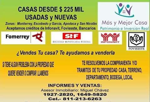 Casa mty y área metropolitana de 2 y 3 recámaras desde $ 380,000.00