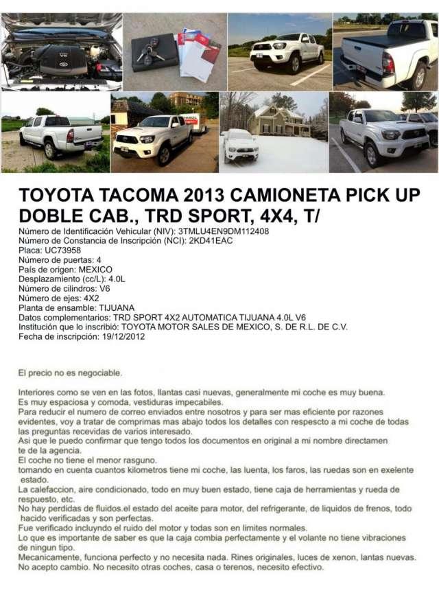 Toyota tacoma 2013 4x4