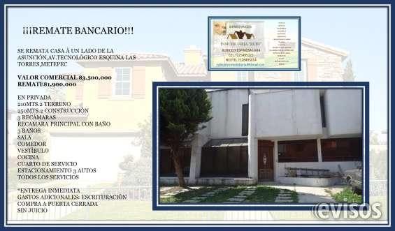 Se vende casa*remate bancario*metepec$1,900,000