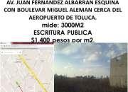 VENDO 3000M2 POR AEROPUERTO DE TOLUCA