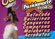 Show de Batucada, zanqueros, bailarinas, comparsas.