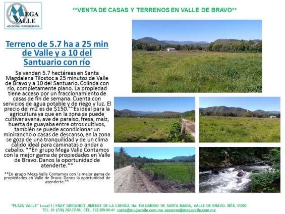 Terreno de 5.7 hectáreas con río a 15 minutos del santuario