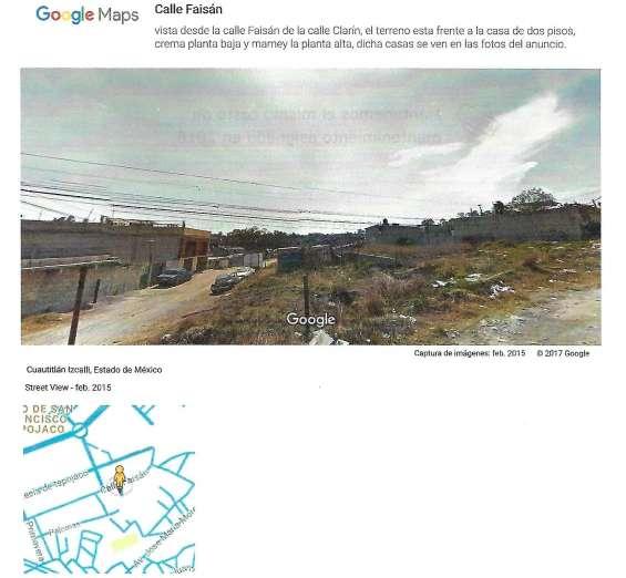 Calle de clarin, foto de google maps. ejido san francisco tepojaco