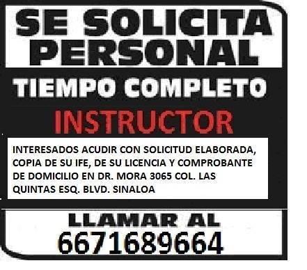 Se solicita instructor para impartir clases de manejo