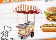 Carros de perros calientes y hamburguesas