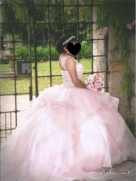 Vestido xv años rosa  baby super cuidado talla 5 hasta 9