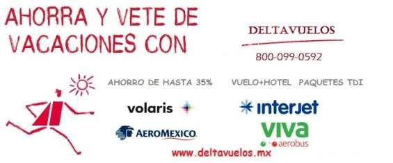 Vuelos paquetes ahorro de hasta 50% vuelo+hotel