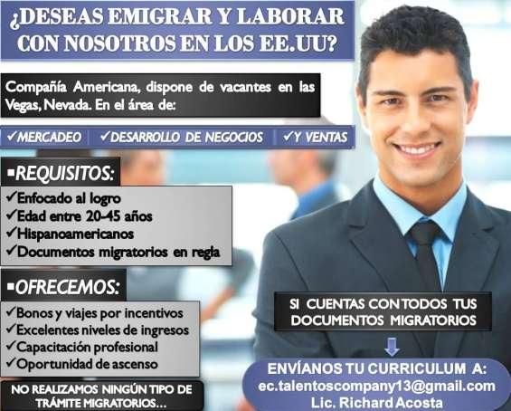 . interesados enviar su currículo al correo:   ec.talentoscompany13@gmail.com  al lic. richard acosta auxiliar gestión humana.