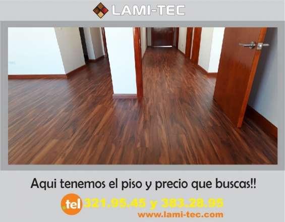 Paquete de piso laminado con instalación incluida al precio mas económico lami-tec
