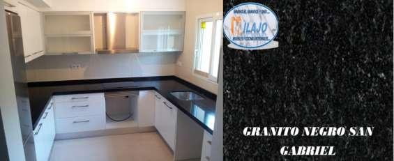 Oferta!! barra para cocina en granito natural negro san gabriel $2480 ml.